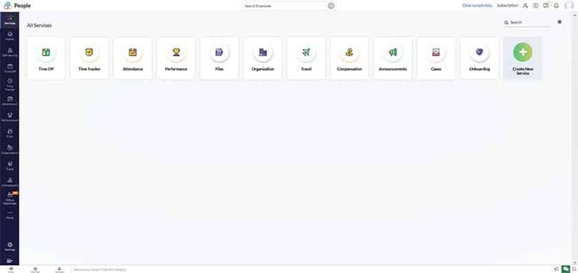 Screenshot of SentricHR all service dashboard
