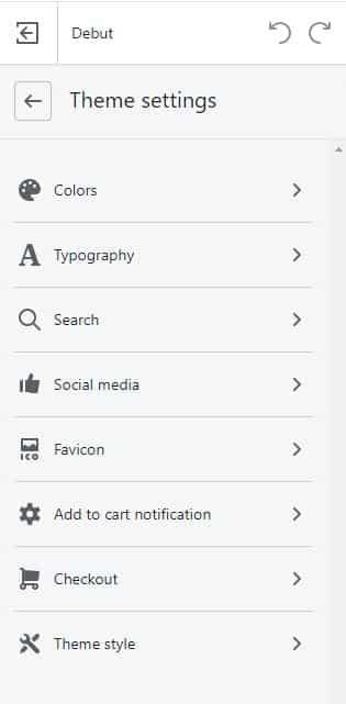 Shopify's Theme settings