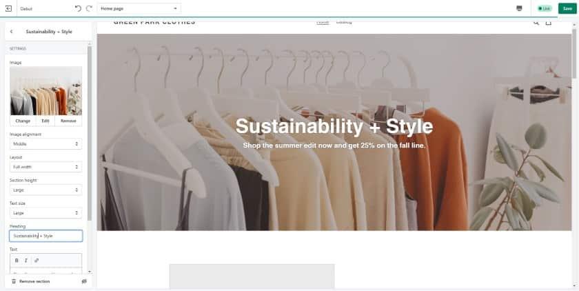 Shopify website builder interface