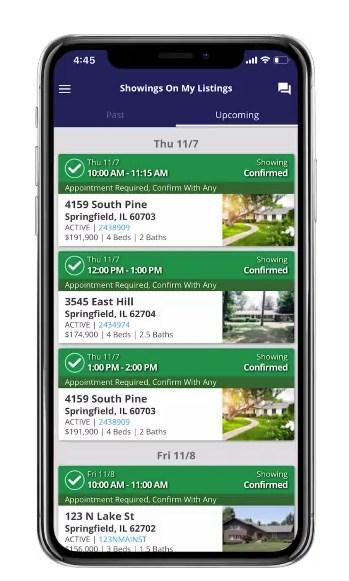 ShowingTime mobile app interface