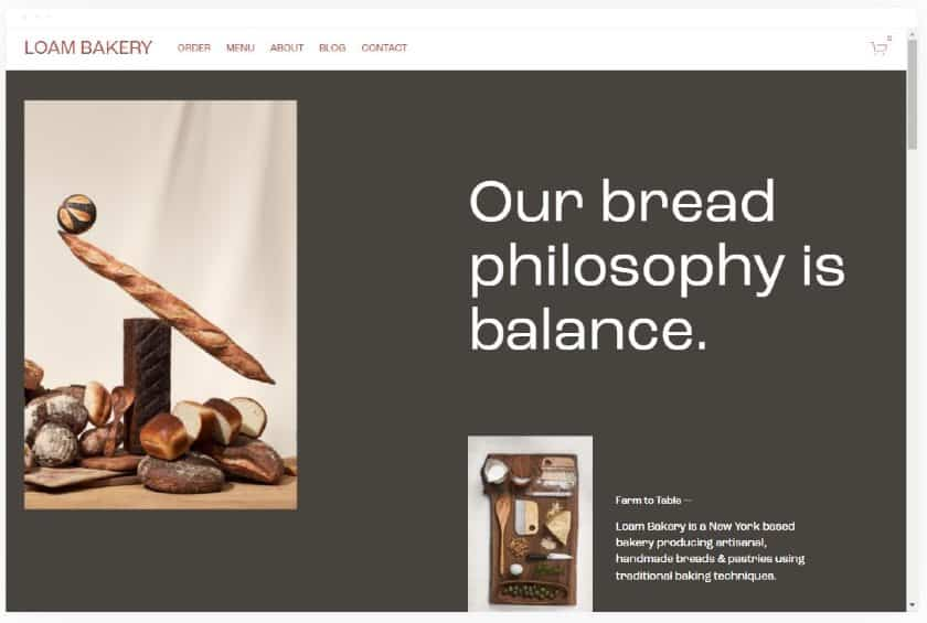Squarespace example - Loam Bakery Website