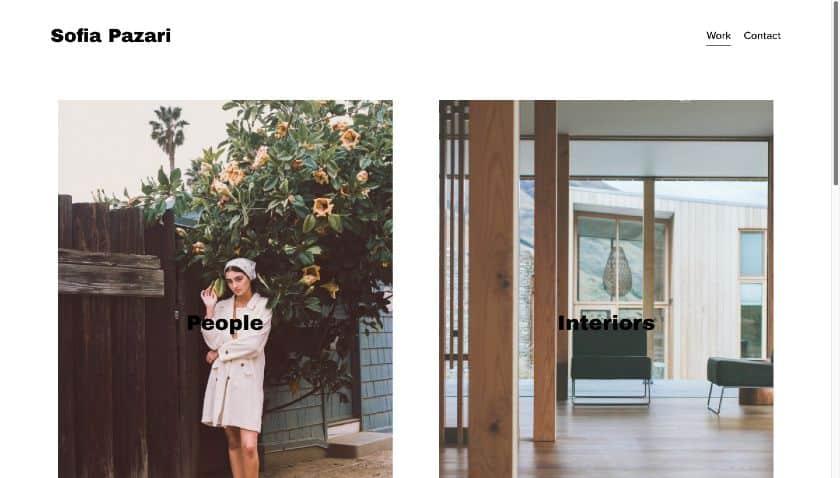 Squarespace example - Sofia Pazari website