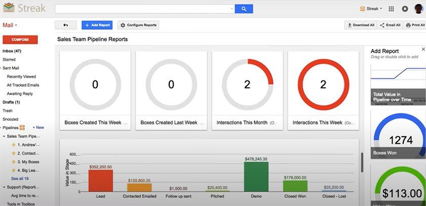 Screenshot of Streak sales pipeline reports