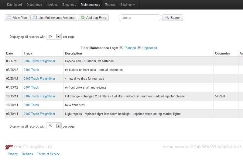 Screenshot of TruckingOffice Maintenance Tab