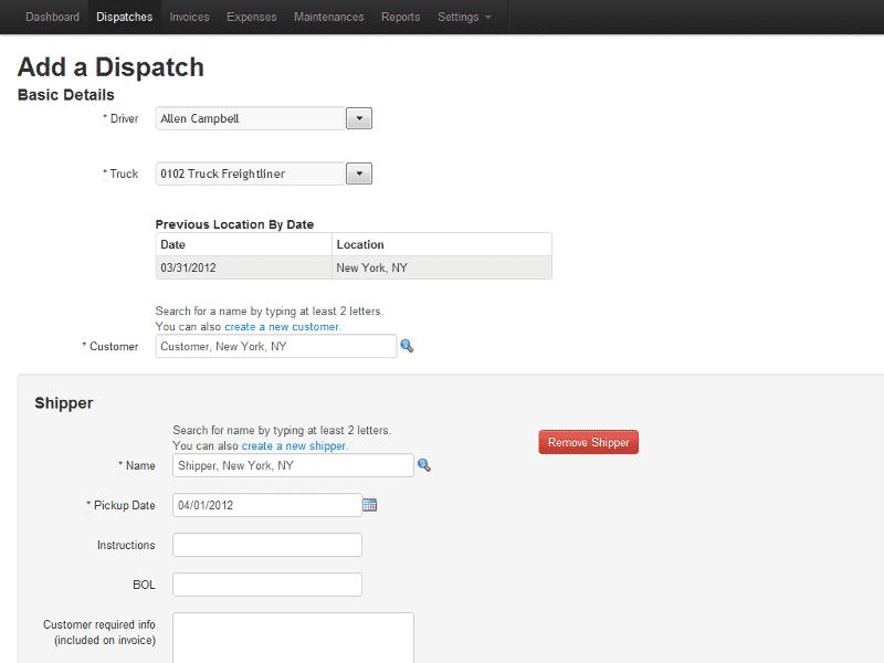 Screenshot of TruckingOffice adding dispatch