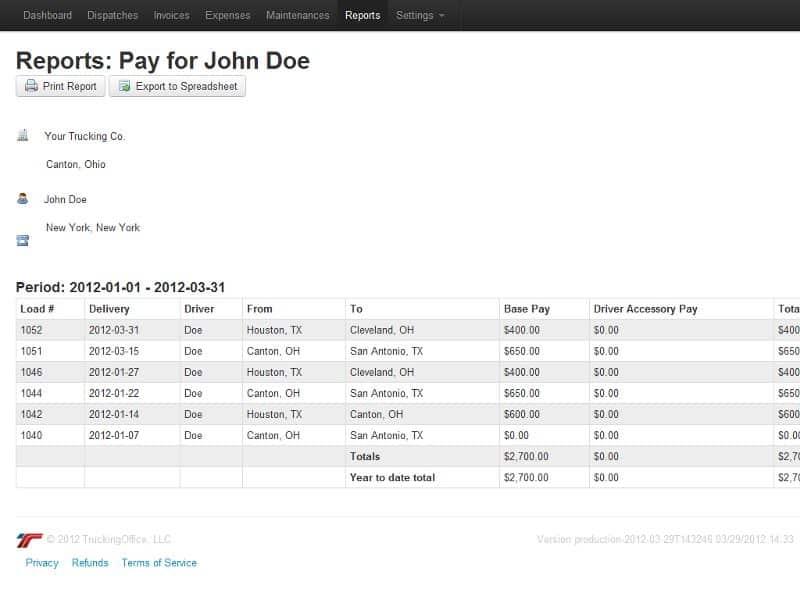 Screenshot of TruckingOffice payroll reports sample