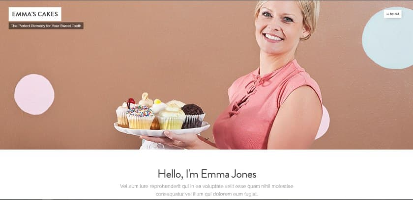 Webnode example - Emma's Cake website