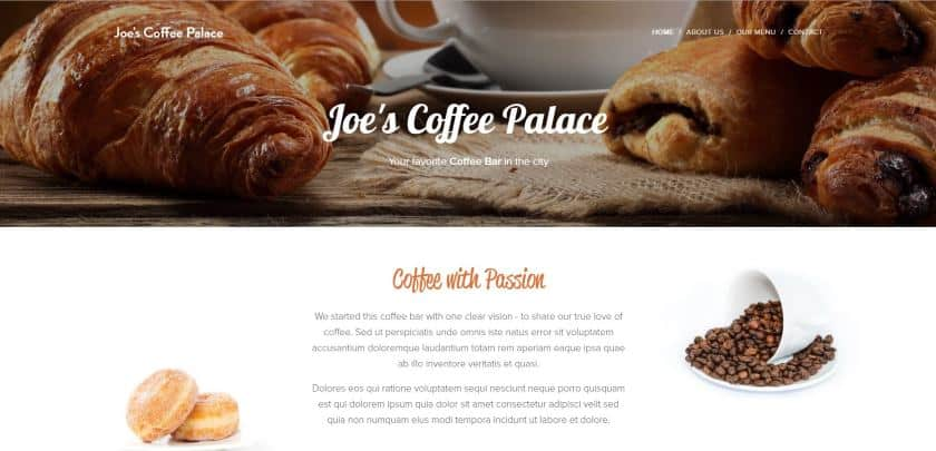 Webnode example - Joe's Coffee Palace website