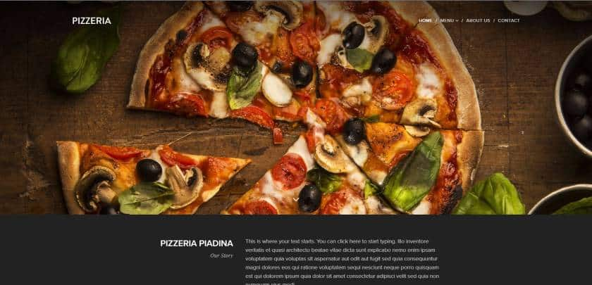 Webnode example - Pizzeria website