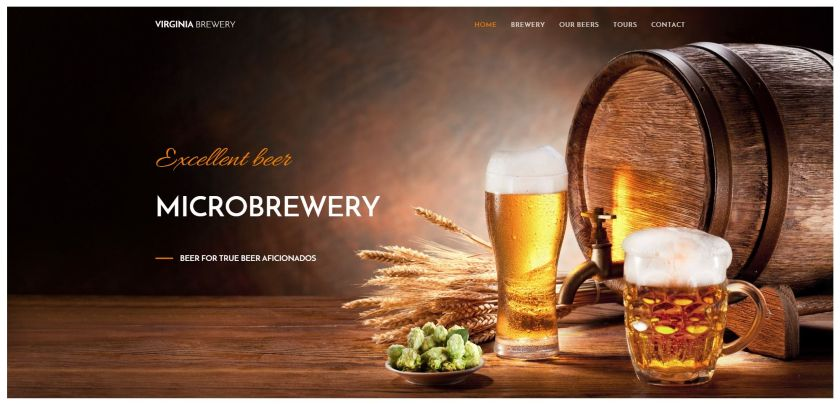Webnode example - Virginia Brewery website