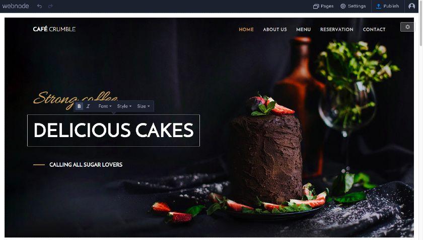 Webnode restaurant website template