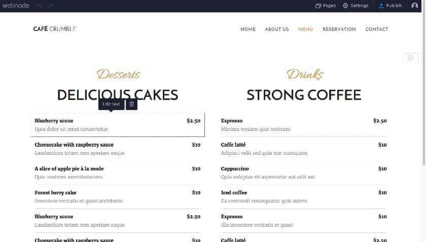 Webnode site builder menu settings