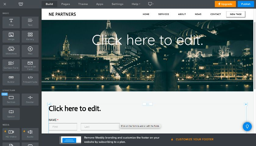 Weebly adding Standard page