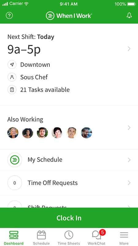 Screenshot of When I Work employee time clock