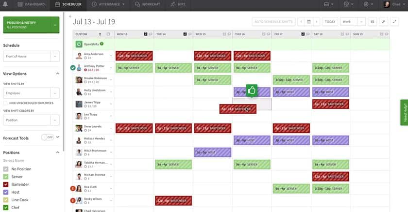 Screenshot of When I Work online schedule builder