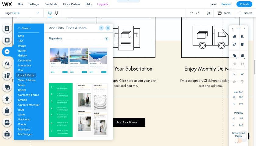Wix Site Builder List Grid element