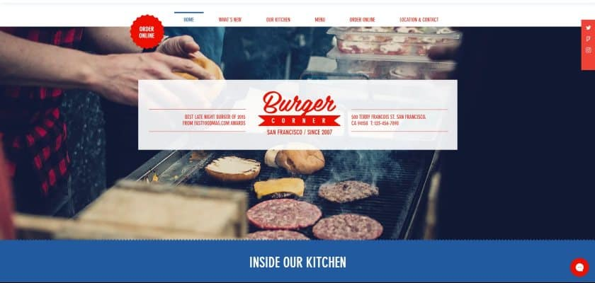 Wix example - Burger Corner Website
