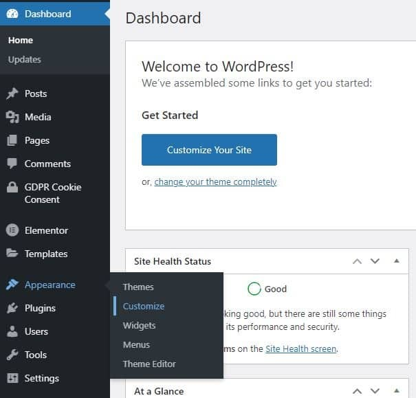 WordPress Dashboard Appearance settings