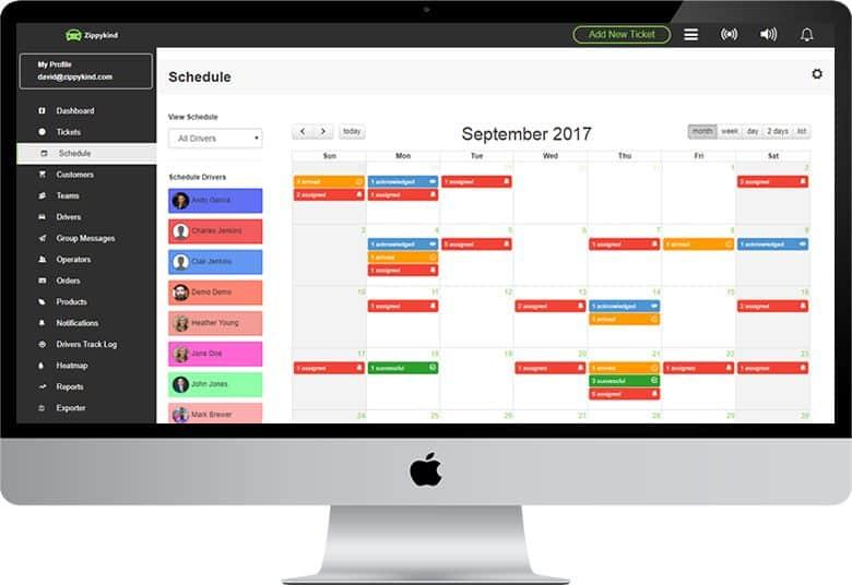 Screenshot of Zippykind delivery schedule