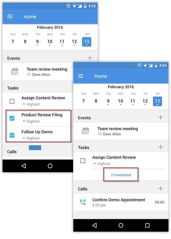 Screenshot of Zoho CRM schedule Activities
