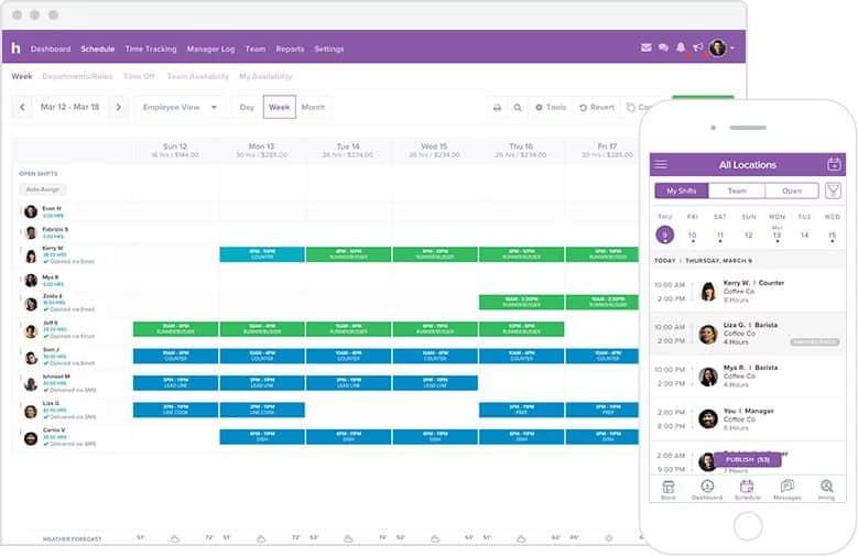Screenshot of homebase schedule dashboard