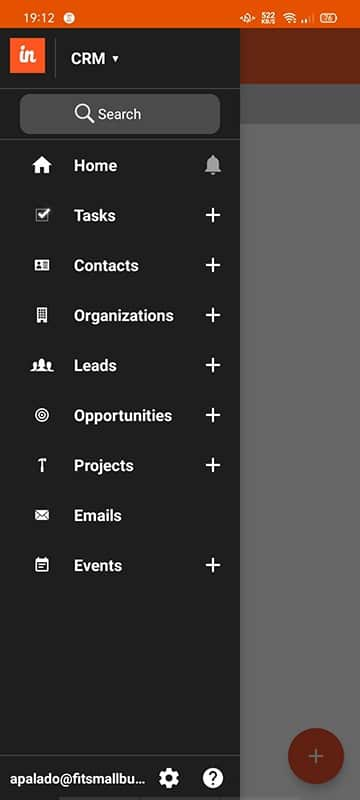 Screenshot of insightly mobile app tabs