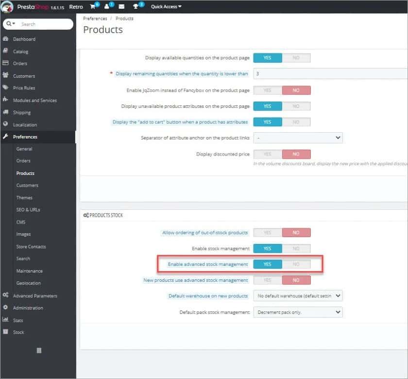Screenshot of Advanced Stock Management Option in PrestaShop