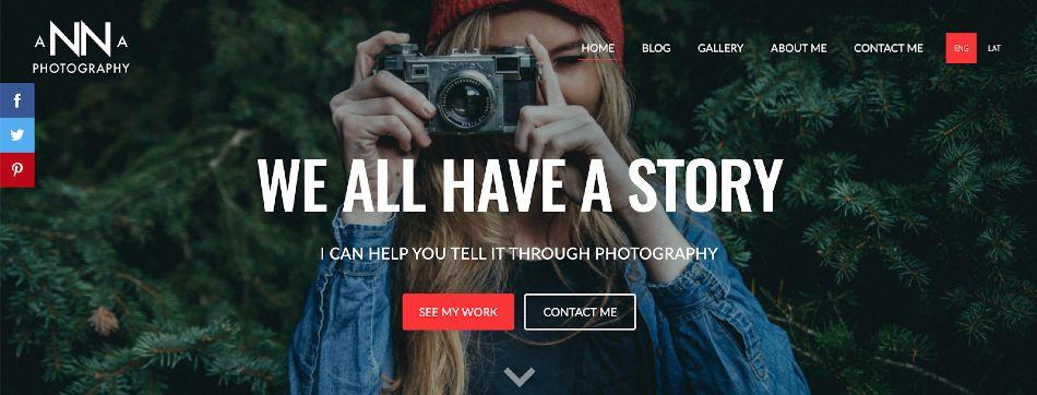 Screenshot of Anna Photography Website