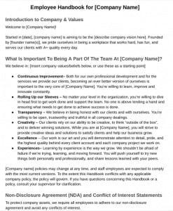 Screenshot of Employee Handbook Sample