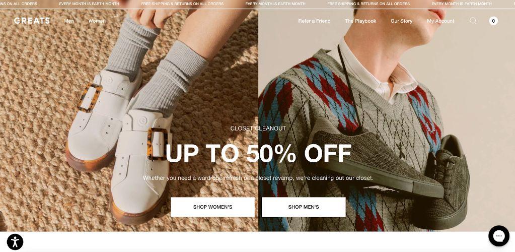 Screenshot of Greats Shopify Ecommerce
