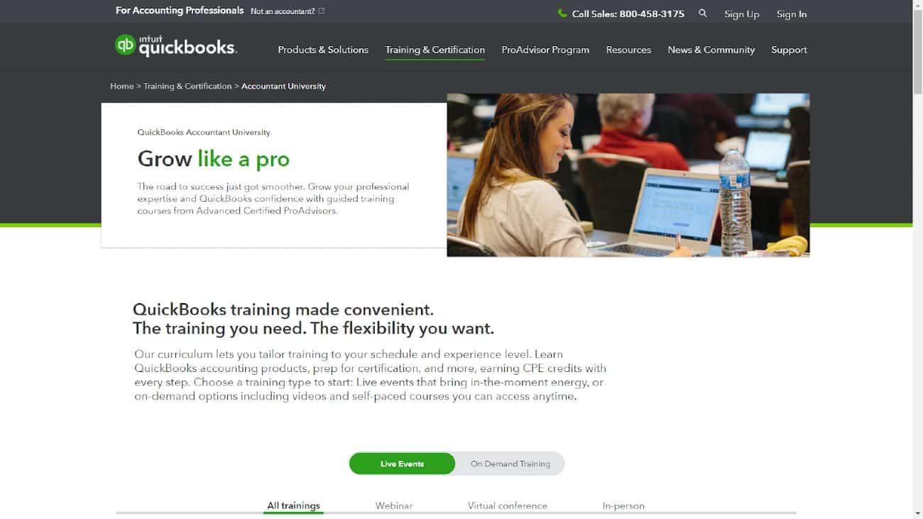 Screenshot of Intuit QuickBooks Accountant University