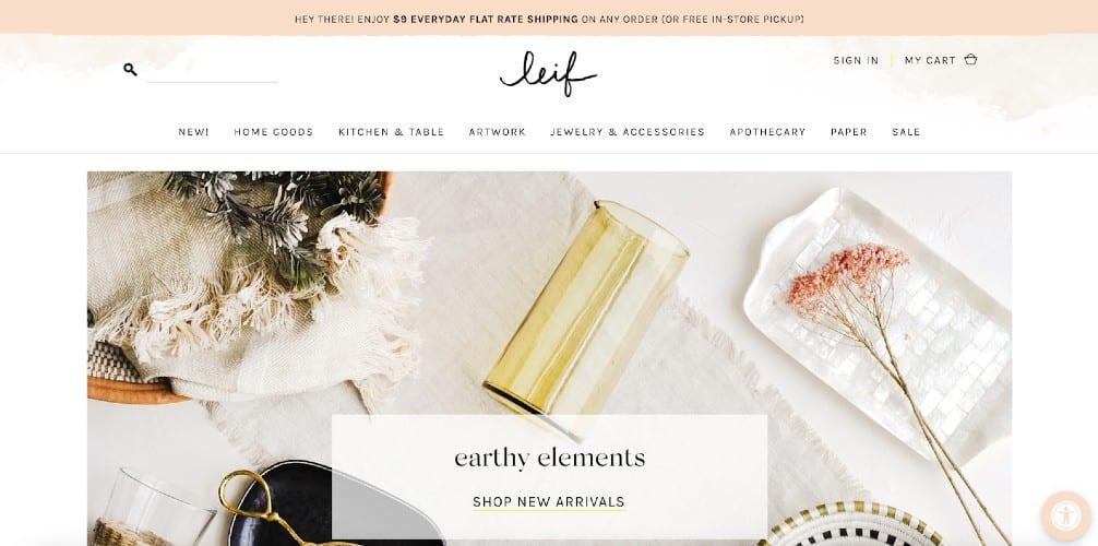 Screenshot of Leif Shopify Ecommerce