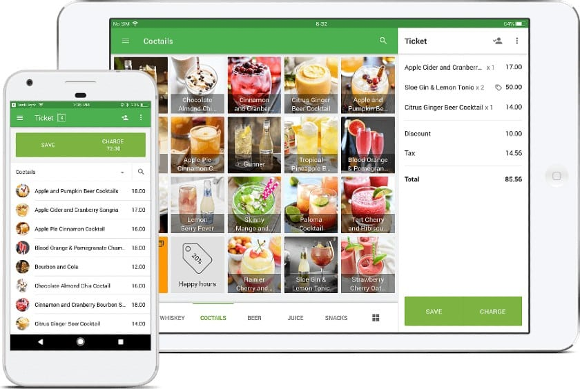 Screenshot of Loyverse Checkout on Tablet and Mobile