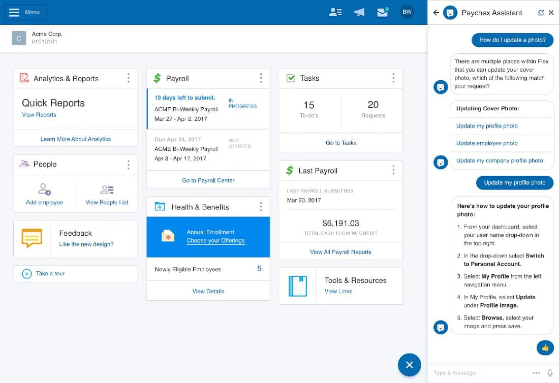Screenshot of Paychex Assistant