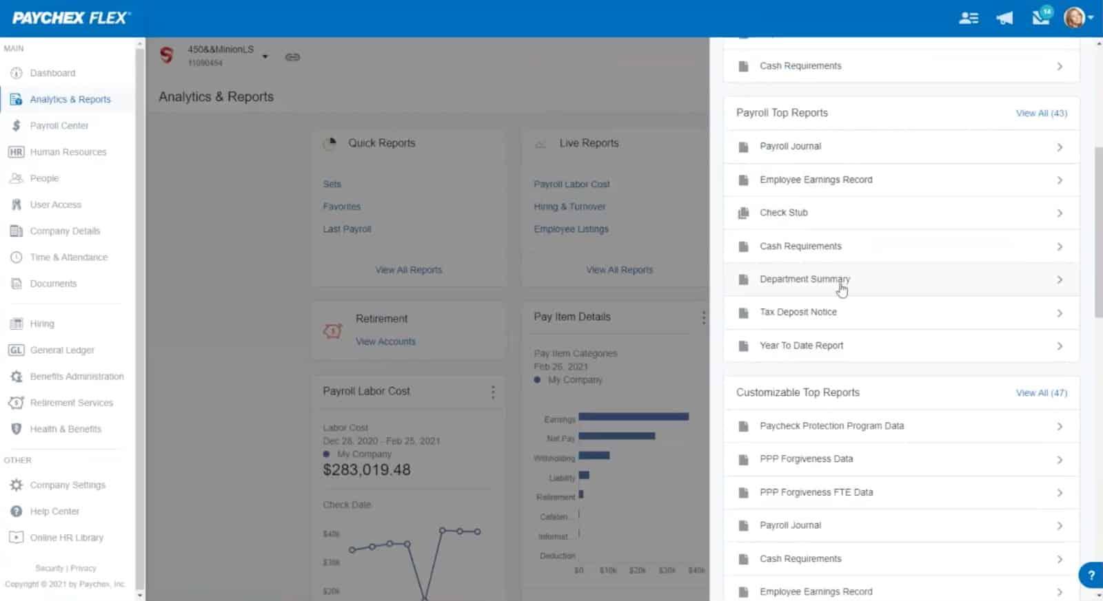 Screenshot of Paychex Flex Analytics and Reports