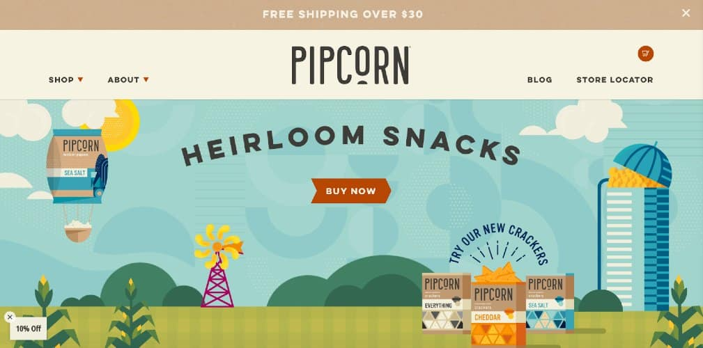 Screenshot of Pipcorn Shopify Ecommerce