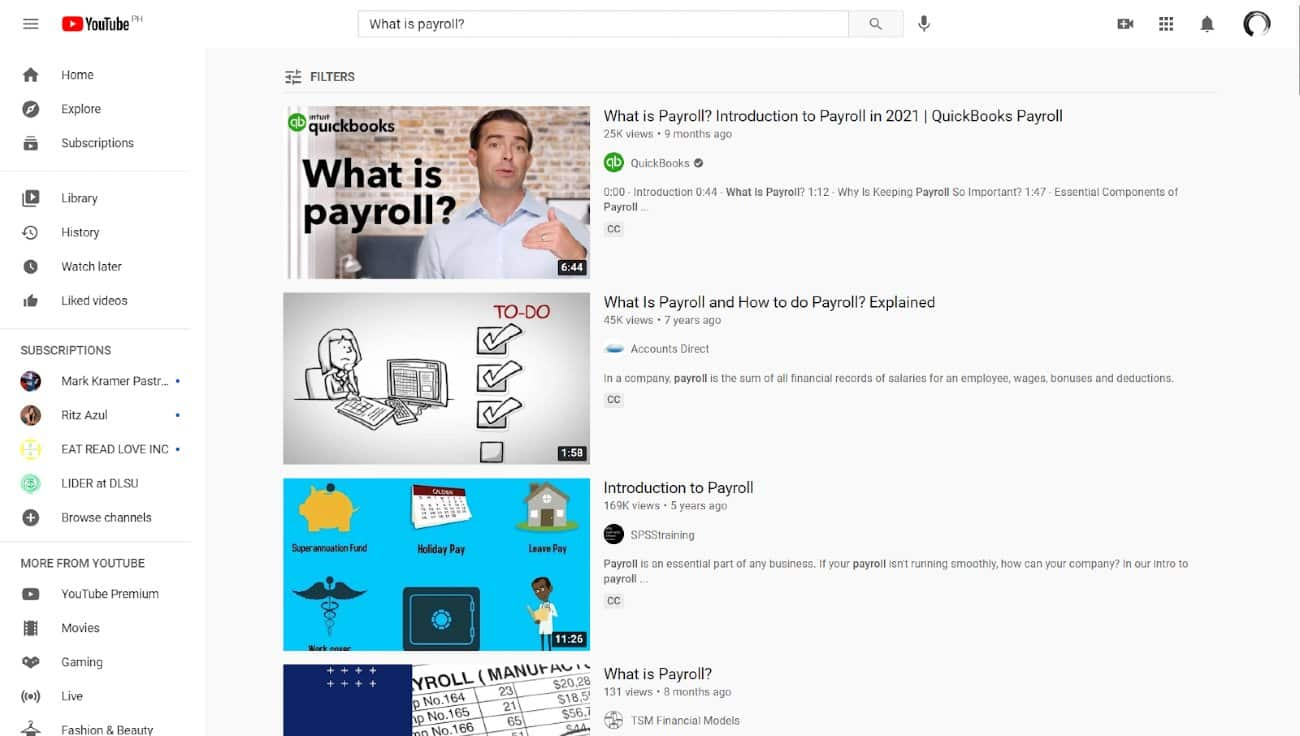 Screenshot of Youtube Dashboard With What Is Payroll Search Key Phrase