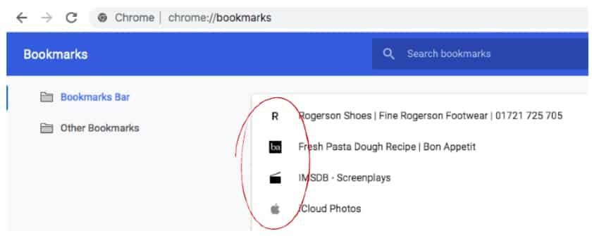 websites favicon in bookmarks manager