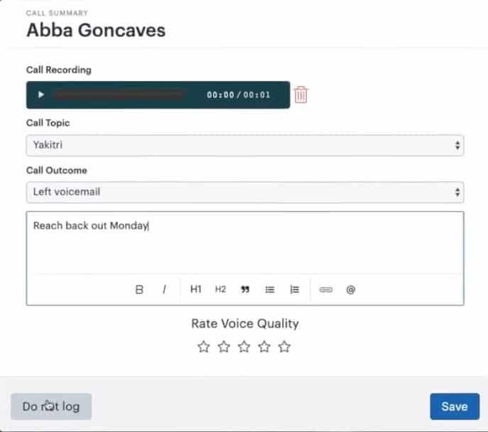 Screenshot of zendesk call recording sample