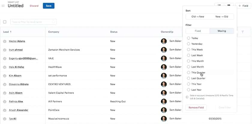 Screenshot of zendesk leads filtering