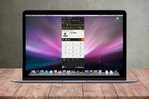 Softphone interface on MacBook