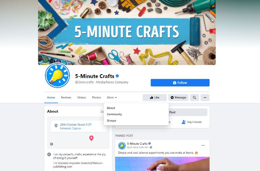 5-Minute Crafts Facebook page
