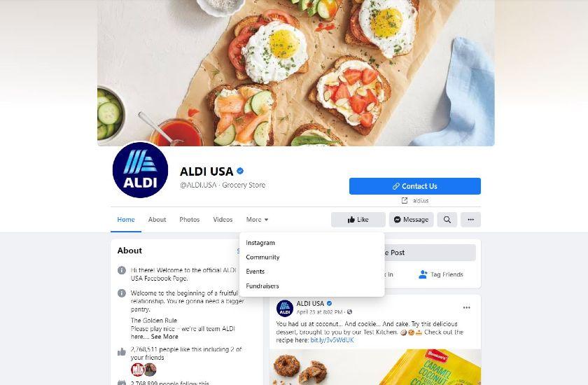 ALDI USA Facebook page