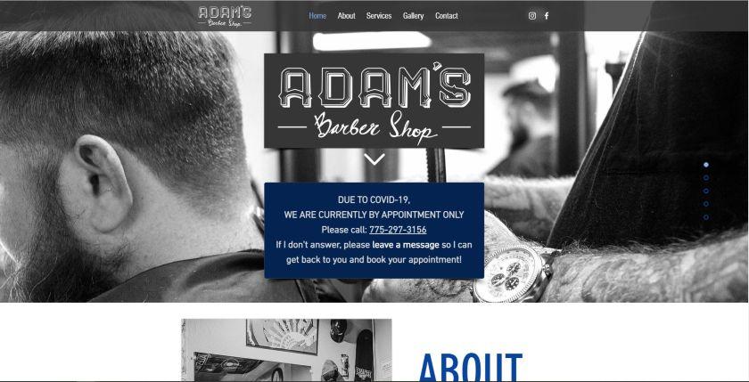 Adam Barber Shop website