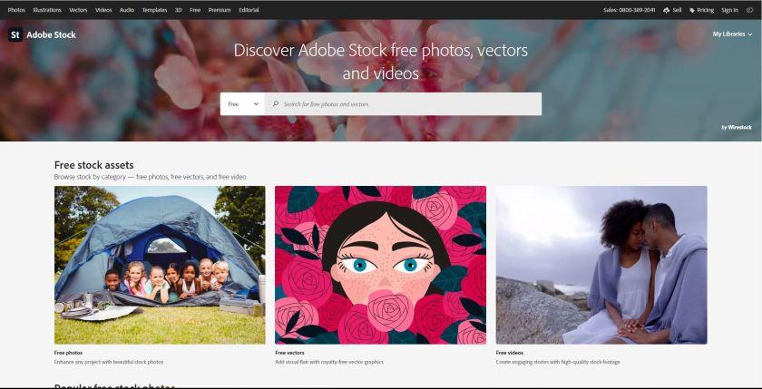 Adobe Stock homepage