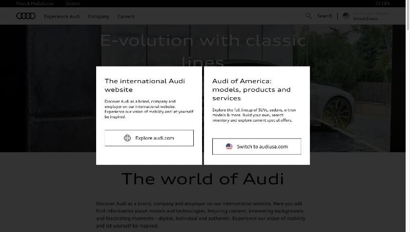 Audi Redirection link