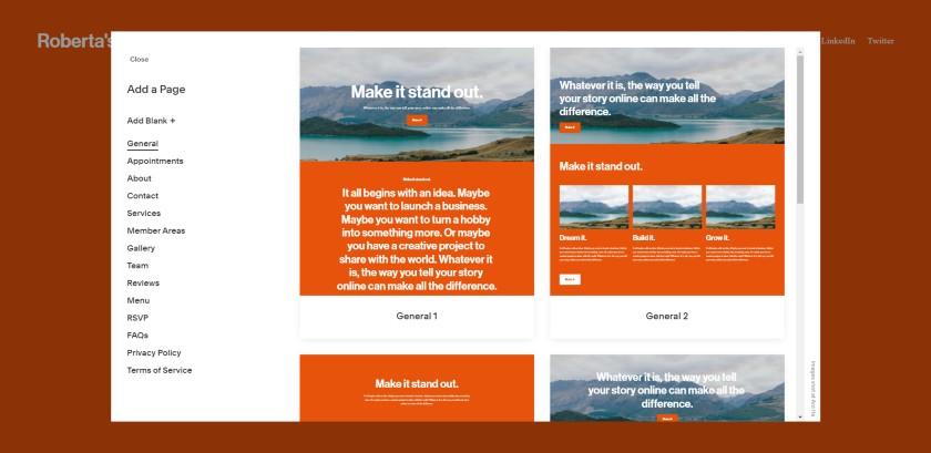 Available Page layouts in Squarespace