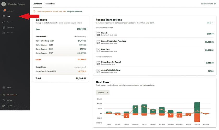 Screenshot of Bookkeeper360 Pulse tab dashboard