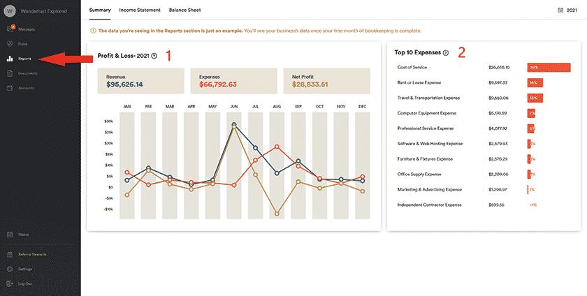 Screenshot of Bookkeeper360 Reports tab