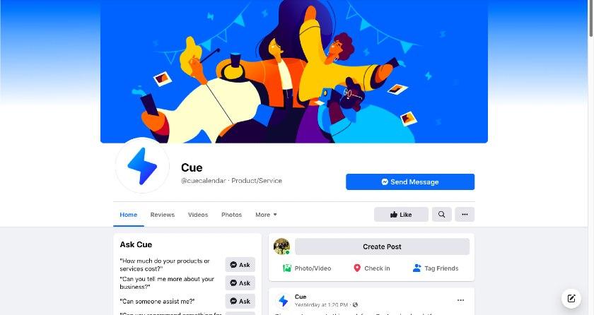 Cue Facebook page